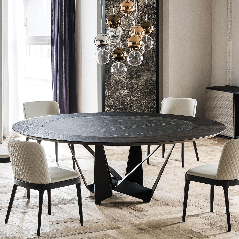 Designer skorpio round ker wood table italian designer for Esstisch italian design