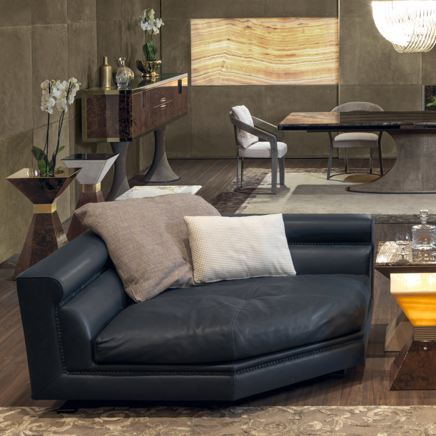 Ansel Luxury Italian Designer Chaise Lounge Italian Designer