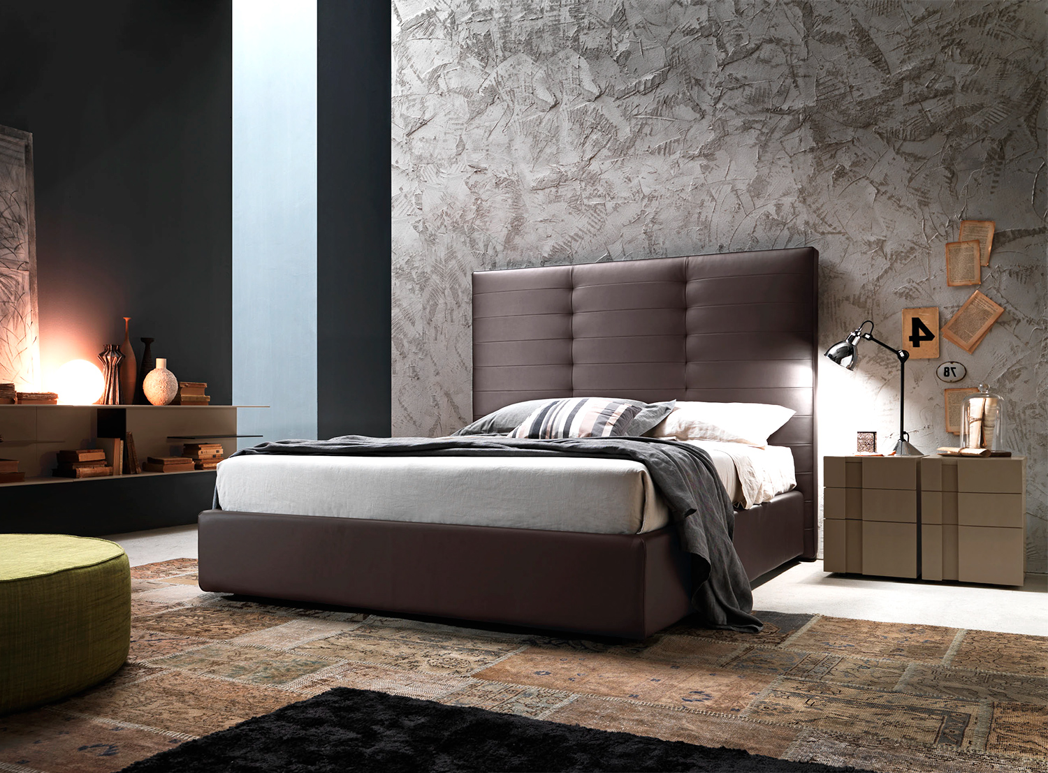 Luxury Italian Designer Wing System Tall Bed