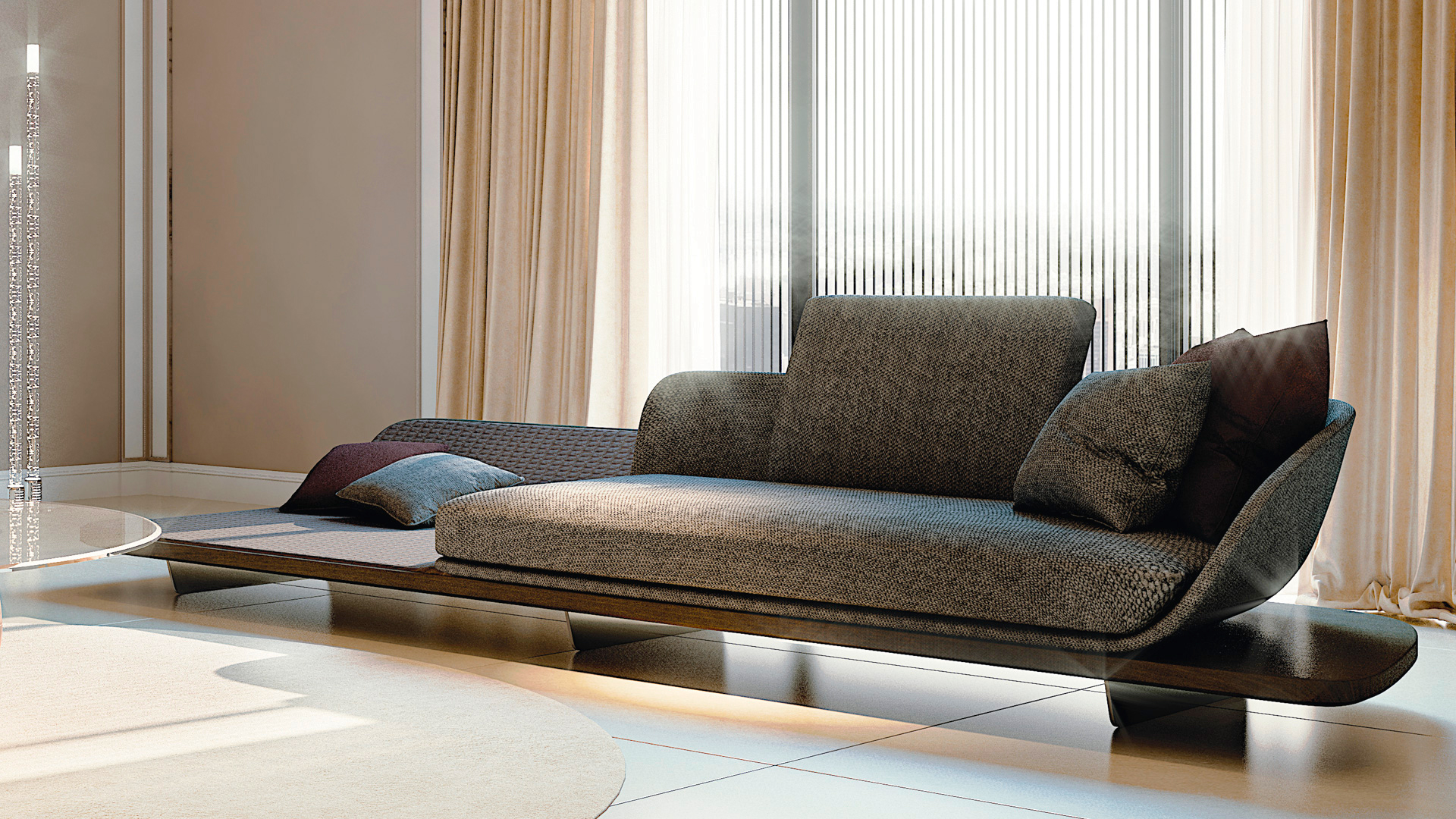 High End Italian Segno Chaise Lounge Italian Designer & Luxury