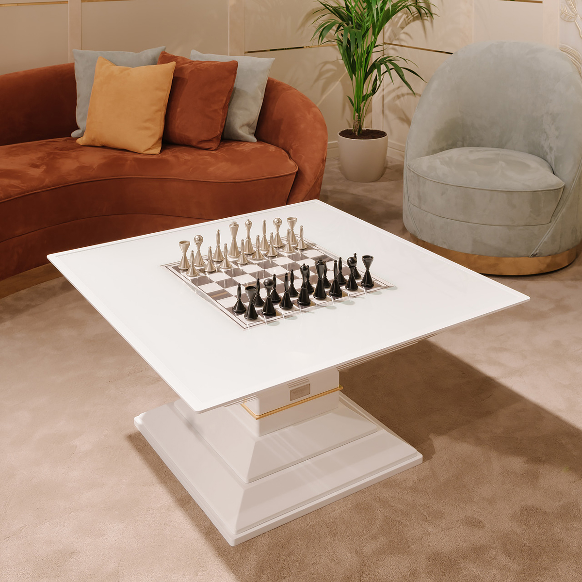 Stylish Scaccomatto Chess And Coffee Table Italian Designer Luxury Game Room Furniture At Cassoni